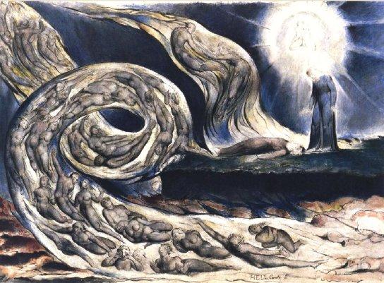 W. Blake, Illustrazione del canto V dell'inferno con Francesca da Rimini